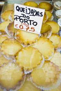 Queijadas pastries for sale at Porto, Portugal